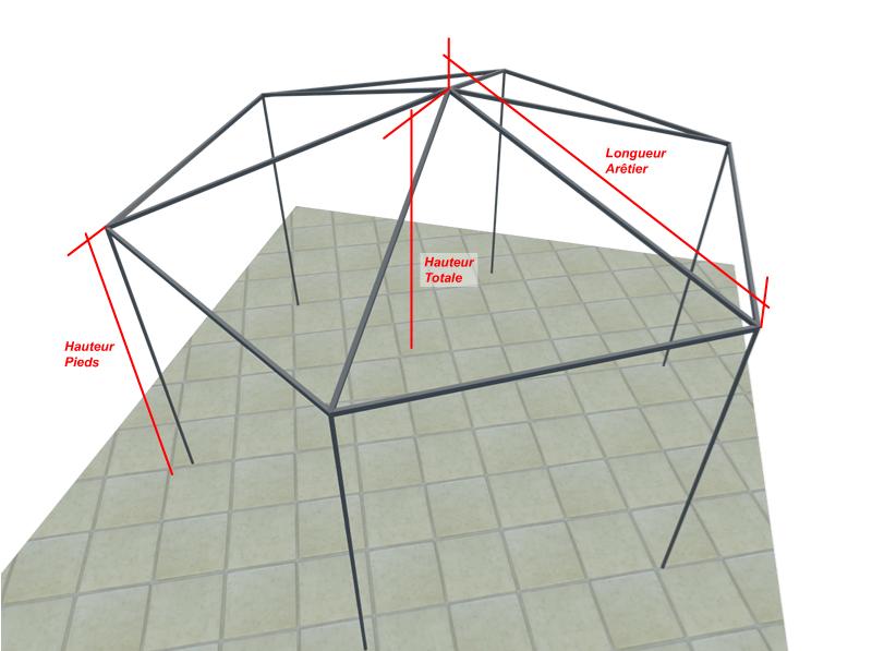 bache cr ation vente en ligne de bache tonnelle hexagonale baches gloriettes sur mesure. Black Bedroom Furniture Sets. Home Design Ideas